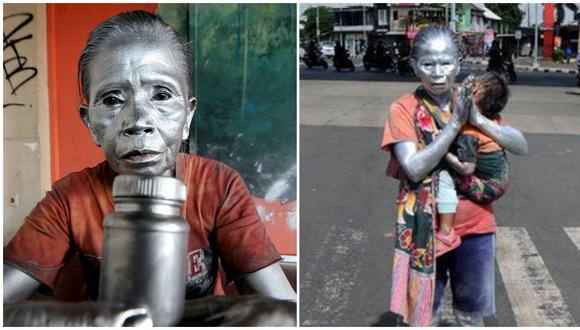 Abuela conmueve al trabajar como estatua para poder alimentar a su nieto de dos años.