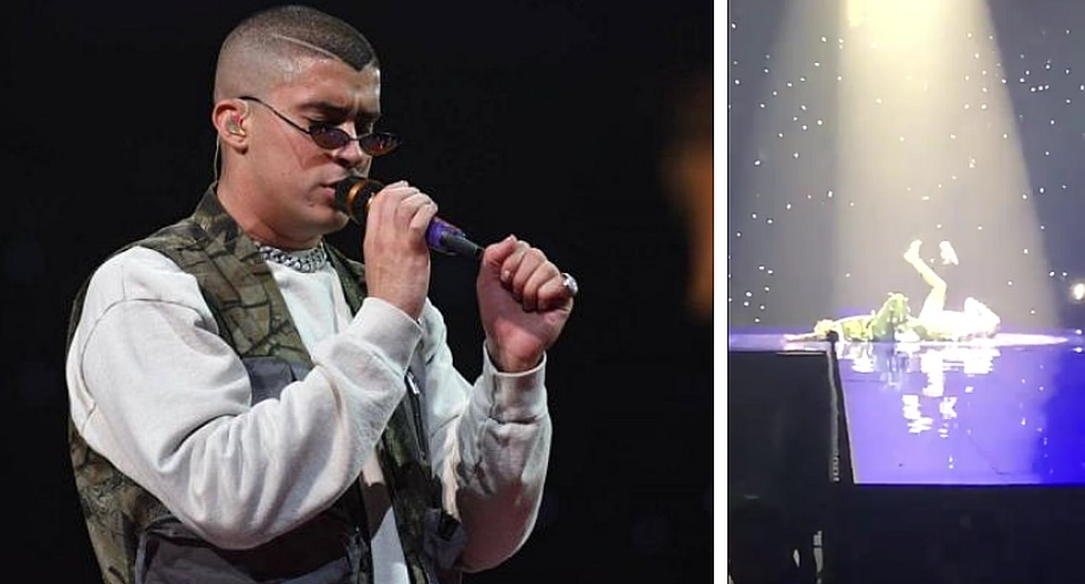 Bad Bunny: Le cayó un 'zapatazo' en la cara en pleno concierto (VIDEO)