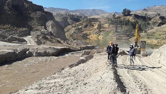 Reforzarán taludes en cauce del rio Colca para temporada de lluvias