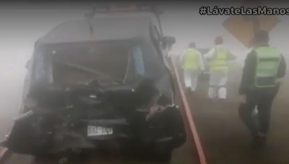 Accidente múltiple en el kilómetro 65 de la Panamericana Norte, en la zona conocida como la Variante de Pasamayo. (Captura: Canal N)
