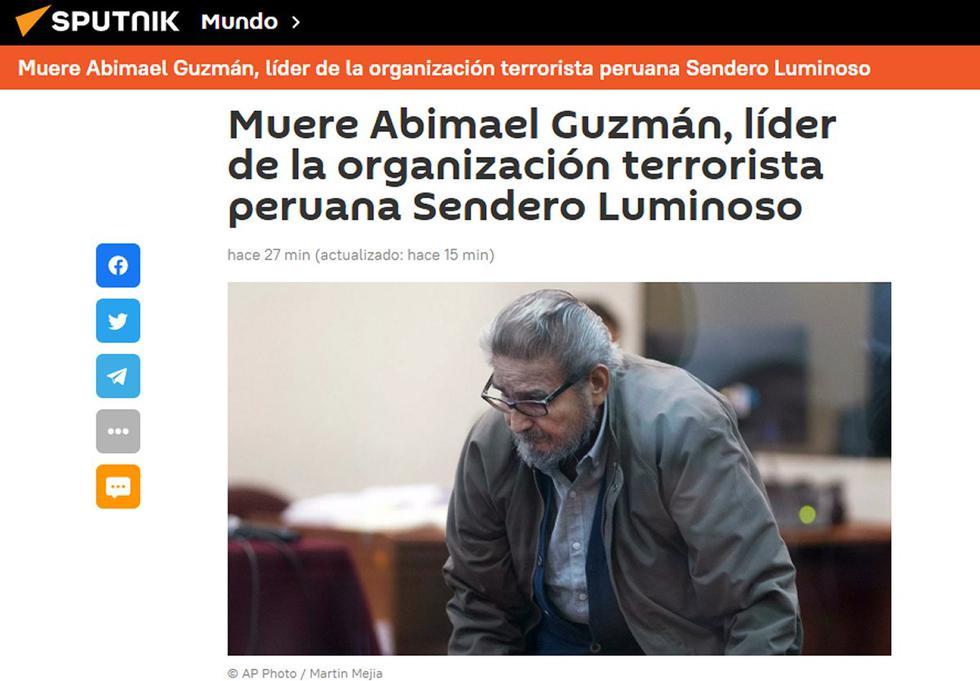 Murió el genocida Abimael Guzmán, a los 86 años y la prensa del mundo cubre el suceso. (Foto: portada Sputnik)