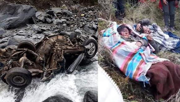 Camioneta terminó en el río totalmente destrozado y heridos fueron evacuados. (Foto: Difusión)