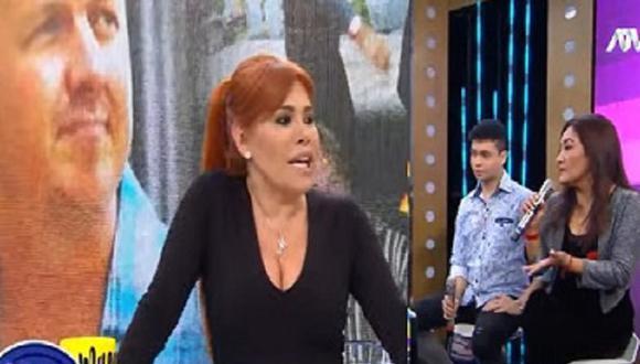 """Flor de Huaraz y su pareja estuvieron en el set del programa """"Magaly TV La firme"""". (Foto: Captura ATV)"""
