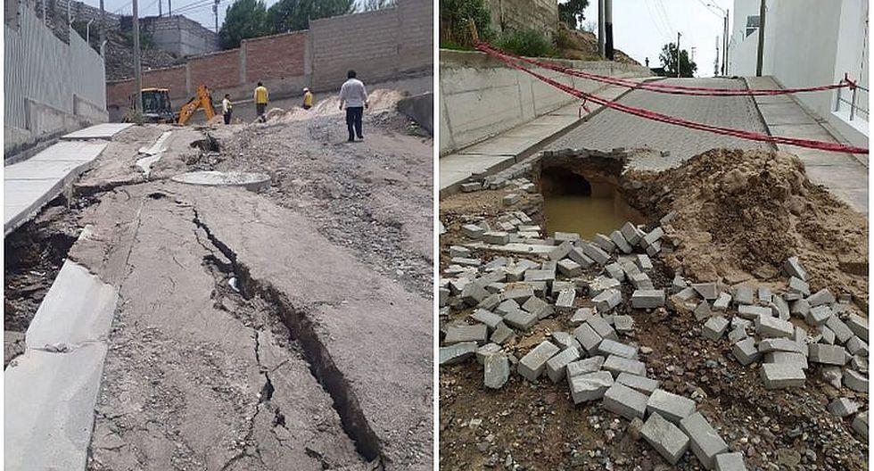Rotura de tubería originó el colapso de una calle en Cerro Colorado