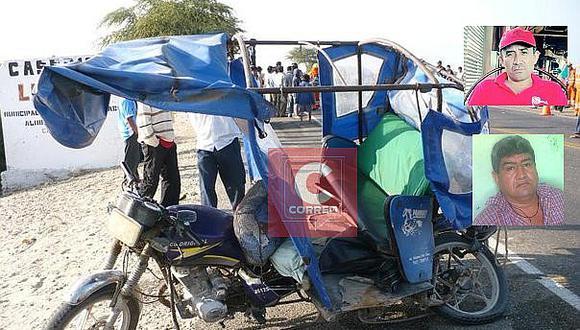 Dos muertos y cinco heridos deja choque entre mototaxi y motocicleta en Chulucanas