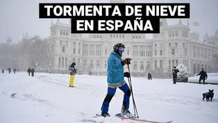España: Madrid amanece completamente nevada