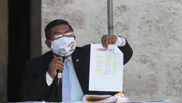El consejero José Luis Hancco dio una conferencia de prensa sobre el tema. (Foto: Leonardo Cuito)