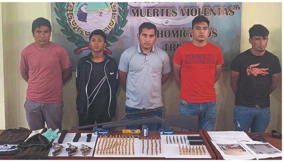 """Cinco integrantes de """"Los elegantes de la Nueva Jauría"""" tenían armas de fuego y el croquis del Banco de la Nación de Huamachuco."""