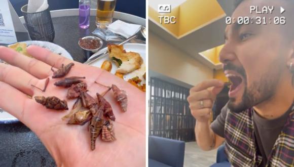 """Ezio Oliva señala que """"los chapulines"""" le recuerdan el sabor del suri, insectos de la selva peruana. (Foto: Instagram @eziooliva)."""