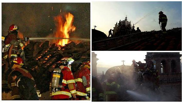 Héroes sin capa: Bomberos lucharon contra incendio de templo en malas condiciones (VIDEO)