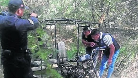 Serenos encuentran una mototaxi desmantelada