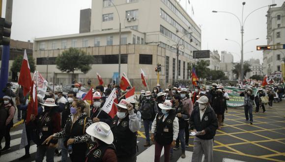 Simpatizantes de Fuerza Popular y Perú Libre realizan convocatoria a movilizaciones en Lima. (Foto: GEC)