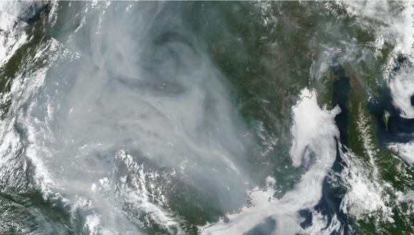 Area afectada por los incendios vista desde un satélite.   Foto: EuropaPress.