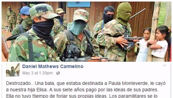 Paramilitares colombianos asesinan a niña de 7 años de origen peruano