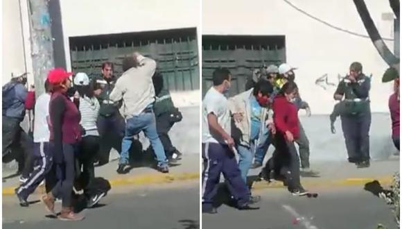Policía detiene a 5 atacantes quienes fueron trasladados a la comisaría por agresión y desacato a la autoridad