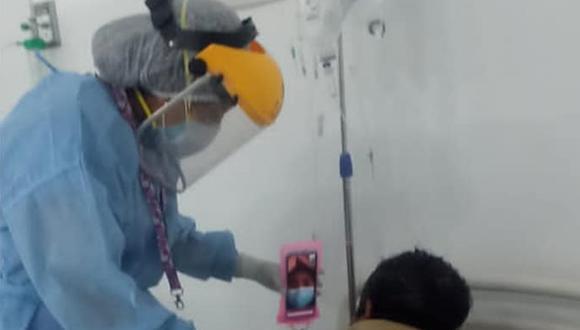 Ica: pacientes con coronavirus acceden a videollamadas para comunicarse con sus familiares (Foto: hospital regional de Ica)