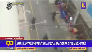 Ambulantes de Mesa Redonda se enfrentan a fiscalizadores con machetes