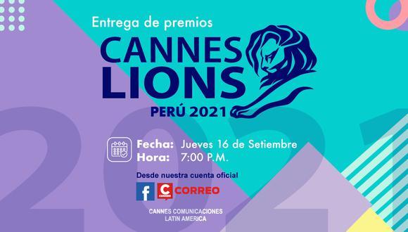 El 16 de setiembre a partir de las 19:00 horas se realizará la transmisión del evento digital que tiene como objetivo conmemorar a las agencias peruanas ganadoras de Cannes Lions 2021.
