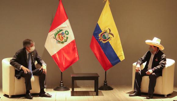 Pedro Castillo se reunió este martes 27 de julio con el presidente de Ecuador, Guillermo Lasso.