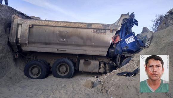 Lambayeque: El conductor Edgar Córdova Córdova (30) murió al caer con su vehículo a una zanja de 4 metros de profundidad en el kilómetro 899 de la carretera Panamericana Norte, en Mórrope. (Foto PNP)
