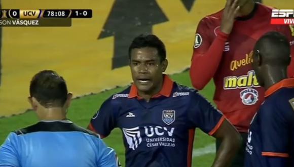 Tras incidente protagonizado por Jersson Vásquez, César Vallejo se quedó en inferioridad numérica. (Foto: Captura ESPN / Video: ESPN)