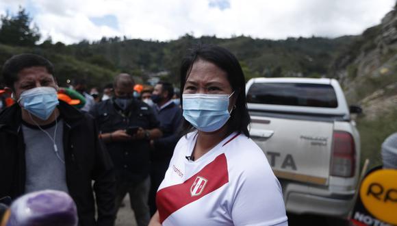 Desde Lajas, la candidata presidencial Keiko Fujimori aseguró que se presentará en la plaza de Chota para el debate con su oponente Pedro Castillo. (Foto: Hugo Pérez/@photo.gec)