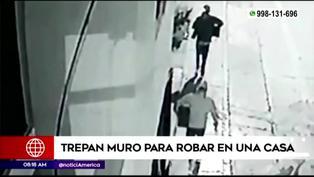 Delincuentes trepan muro y se llevan dos computadoras y un televisor de una casa (VIDEO)