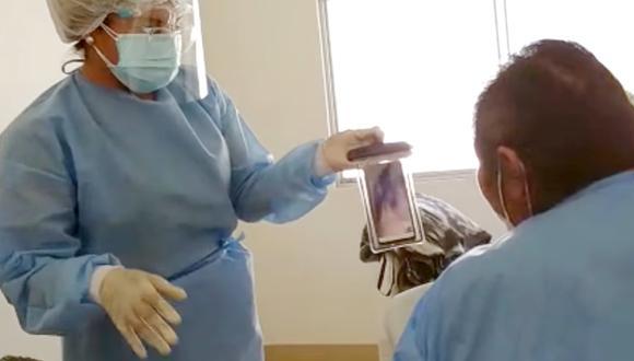 Tacna: hospital Hipólito Unanue implementa videollamadas entre pacientes y sus familiares (Foto: captura de video facebook)