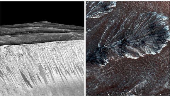 Las vetas en las laderas marcianas pueden ser causadas por agua hirviendo
