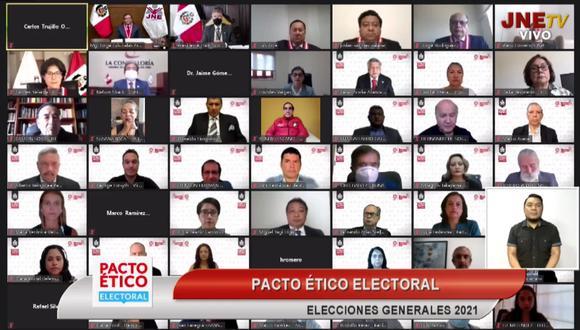 Este jueves, 17 partidos políticos se suscribieron al Pacto Ético Electoral en el marco de las Elecciones Generales 2021. (Captura TV)