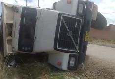 Puno: Volquete se accidenta en el distrito de San Miguel