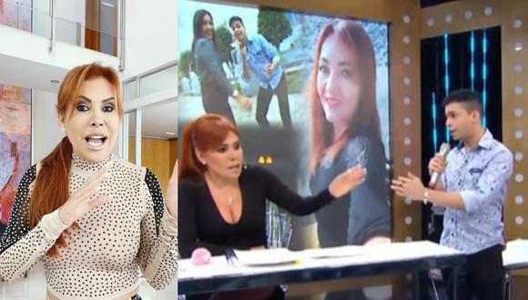 Magaly Medina discute con Junior Marcano, la nueva pareja de Flor de Huaraz y él se retira del set en vivo. (Foto: Captura ATV/@magalymedinav).