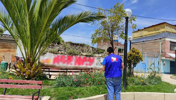 Hallan propaganda electoral en la Plaza de la provincia de Acobamba.