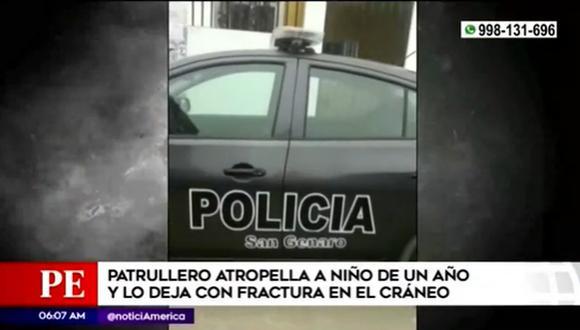 El patrullero que atropelló al menor de edad. (Captura: América TV)