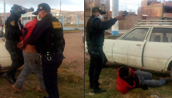 Sujeto fue llevado a la comisaría por realizar la peligrosa maniobra. (Foto: Serenazgo de Puno)
