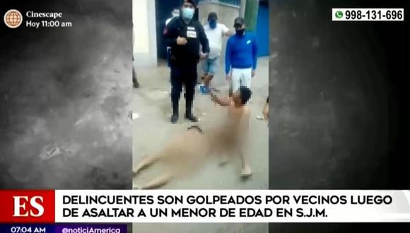 Dos sujetos que robaron a un menor de edad fueron golpeados por vecinos en SJM. (Foto: Captura América Noticias)