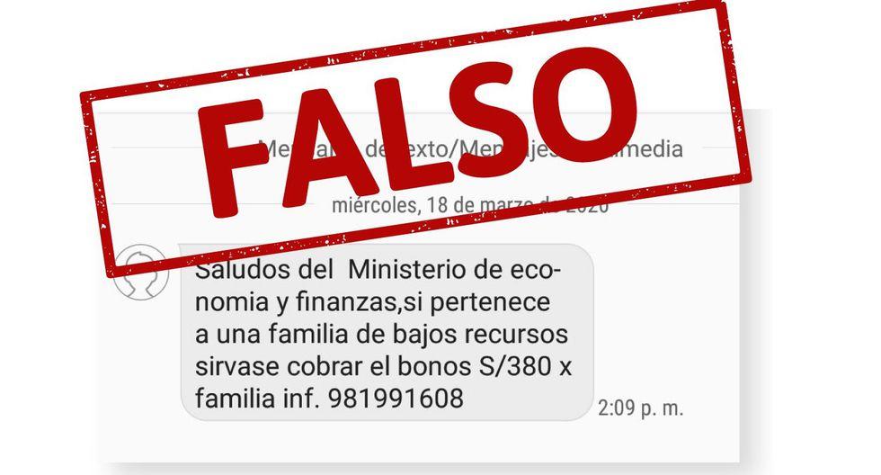 Coronavirus: Advierten que mensajes de texto que ofrecen bonos de 380 soles son FALSOS