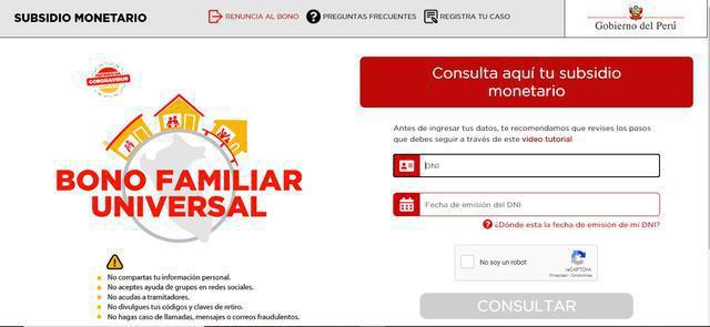 Página oficial del Bono Familiar Universal implementada por el Ministerio de Desarrollo e Inclusión Social (MIDIS) (Foto: captura de pantalla)