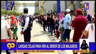 Señor de los Milagros: Reportan largas colas en los exteriores de la iglesia Las Nazarenas (VIDEO)