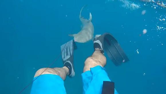 YouTube: El dramático momento en que un tiburón ataca a un pescador (VIDEO)