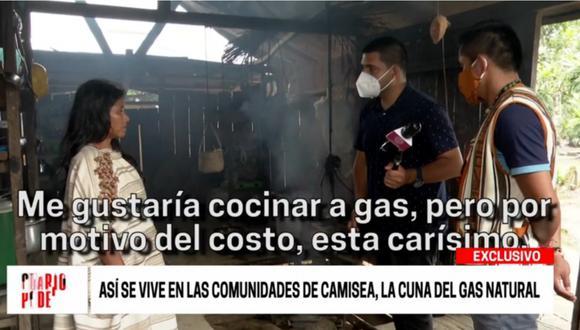 Ciudadana de Camisea cocinando a leña porque el balón de gas cuesta carísimo.   Foto: Cuarto Poder.