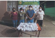 Tumbes: Agentes detienen a cuatro personas con paquetes de pepitas de plata