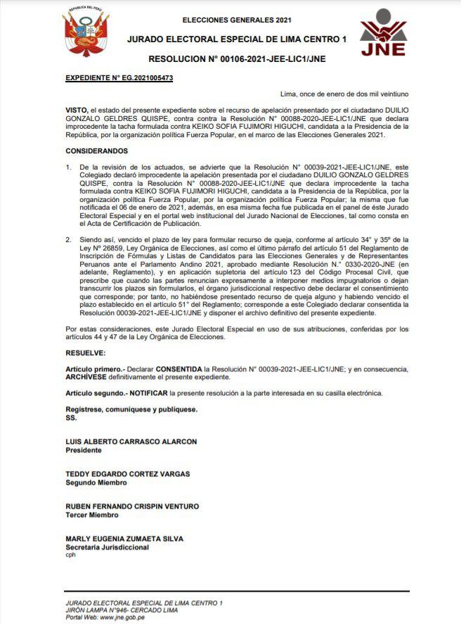 Resolución sobre Keiko Fujimori. (Foto: JEE Lima Centro 1)