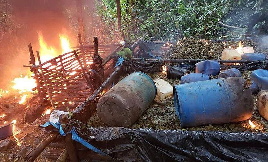 Destruyen laboratorio de Pasta Básica de Cocaína en Puerto Bermúdez (FOTOS)