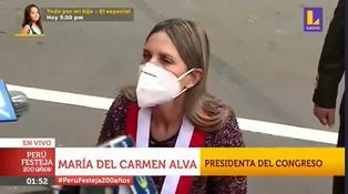 """María del Carmen Alva luego que Sagasti dejó banda presidencial en exteriores del Congreso: """"Ese era el procedimiento"""" (VIDEO)"""