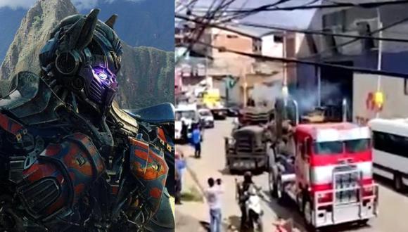 """Vehículos de la película """"Transformers, el despertar de las bestias"""" recurrieron las calles de Cusco. (Foto: Paramount Pictures/Canal N)."""