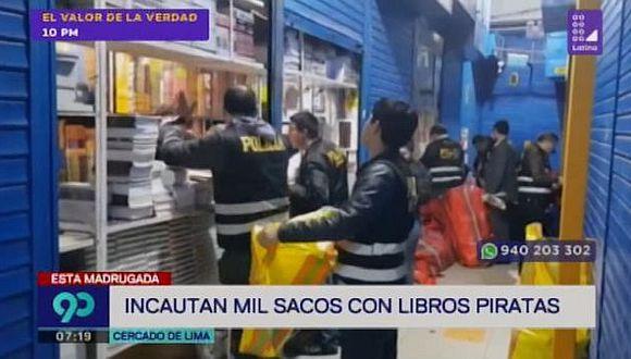 Incautan más de mil sacos con libros piratas en el Cercado de Lima (VIDEO)