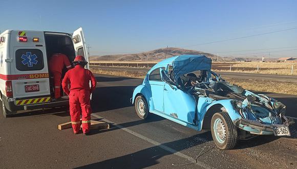 Chofer de auto muere en trágico accidente en la vía Juliaca-Puno