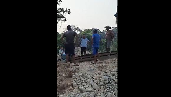 Madre de Dios: Cahuapaza Cahuapaza llegó hasta esa zona luego de ser alertado por vigilantes comunales sobre la presencia de mineros ilegales. (Foto: Captura de video)