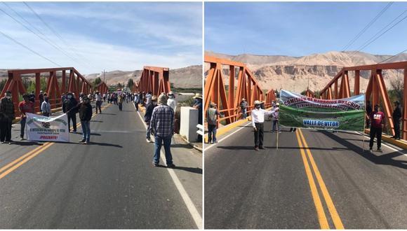 Los agricultores que bloquearon el puente Vítor piden el cumplimiento de la promesa del gobernador Elmer Cáceres Llica